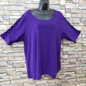 89th + Madison sz 2X purple cold shoulder pullover
